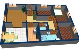 Проект дома 6 на 8 с 3 спальнями